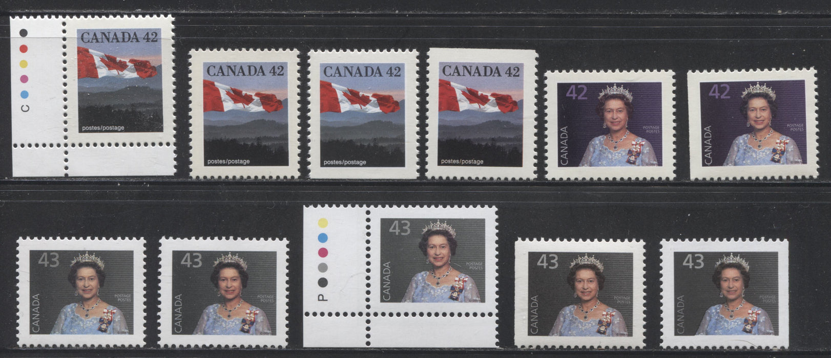 Canada #1356/1358avs 42c-43c Canadian Flag & Queen Elizabeth II, 1991-1998 Fruit and Flag Issue, VFNH Examples of Most Listed Sheet and Booklet Stamps