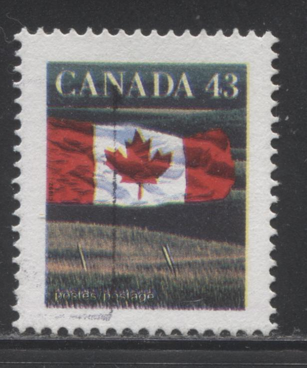 Canada #1359c 43c Canadian Flag, 1991-1998 Fruit and Flag Issue, a VF Used Example of the Perf. 14.5 x 14.6 Leigh Mardon Printing Showing Colour Shift, Resulting in Double Inscriptions