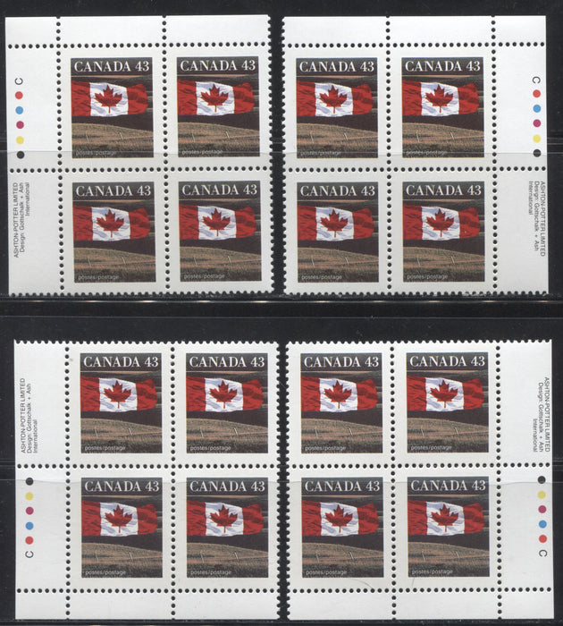 Canada #1359 43c Canadian Flag, 1991-1998 Fruit & Flag Definitive Issue, A VFNH Matched Set of Inscription Blocks From the Perf. 13.6 x 13.1 Ashton Potter Printing