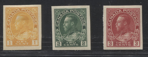 Canada #136-138 1c Yellow Orange - 3c Deep Rose Red King George V, 1911-1928 Admiral Issue, A Very Fine Mint Singles of the 1924 Imperforate Issue