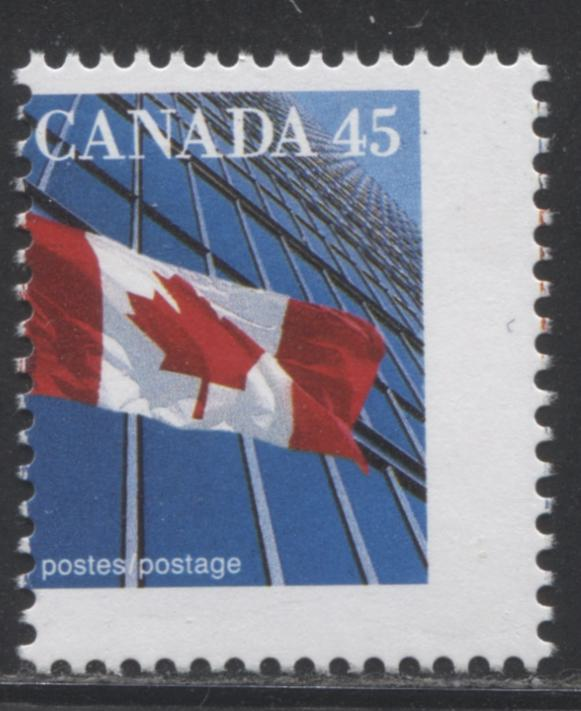 Canada #1361c 45c Canadian Flag, 1991-1998 Fruit and Flag Issue, a Fine NH Misperf Single of the CBN Printing on Coated Papers Paper