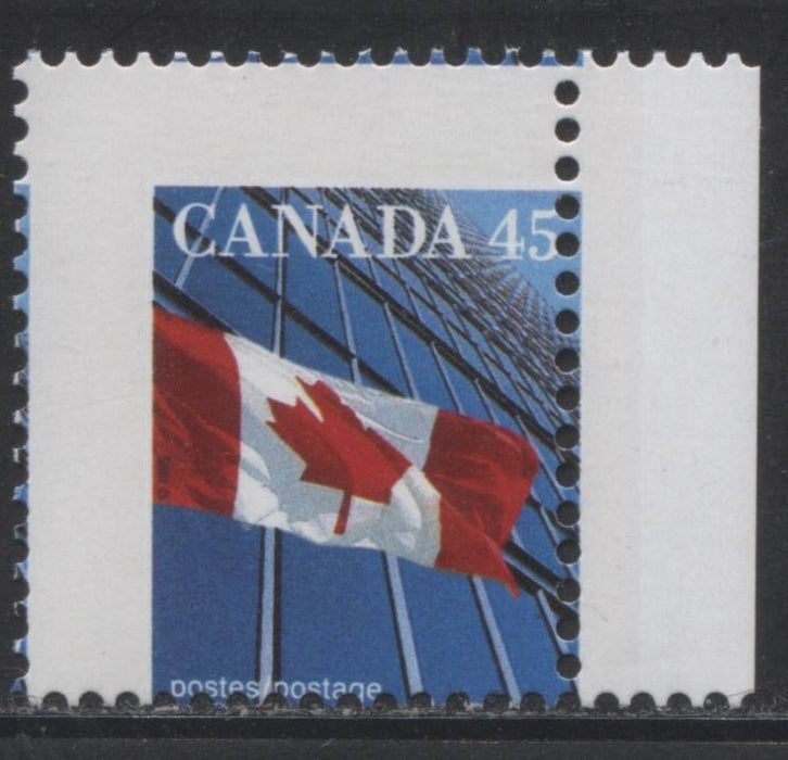 Canada #1361xiii 45c Canadian Flag, 1991-1998 Fruit and Flag Issue, a VFNH Misperf Single of the CBN Printing on LF Peterborough Paper