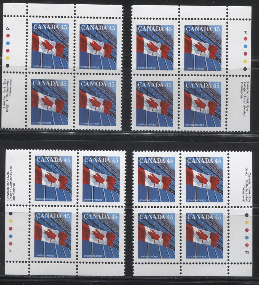 Canada #1361xiii 45c Canadian Flag, 1991-1998 Fruit & Flag Definitive Issue, A VFNH Matched Set of Inscription Blocks From the Perf. 13.6 x 13.1 Canadian Bank Note Printing on NF/NF Peterborough Paper