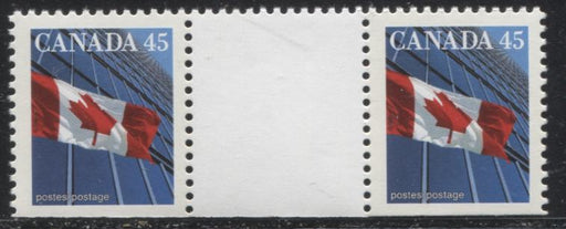 Canada #1362bvi 45c Multicoloured Canadian Flag, 1991-1998 Fruit and Flag Issue, a VFNH Gutter Pair From Booklet