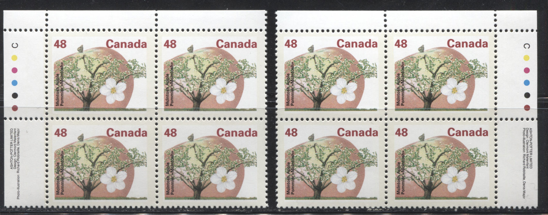 Canada #1363 48c McIntosh Apple, 1991-1998 Fruit & Flag Definitive Issue, VFNH UL and UR Inscription Blocks, Perf. 13.1 on Dead/NF Coated Papers Paper