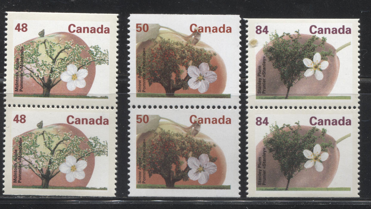 Canada #1363a, 1365as, 1371a 48c McIntosh Apple, 50c Snow Apple & 84c Stanley Plum, 1991-1998 Fruit and Flag Issue, VFNH Booklet Pairs