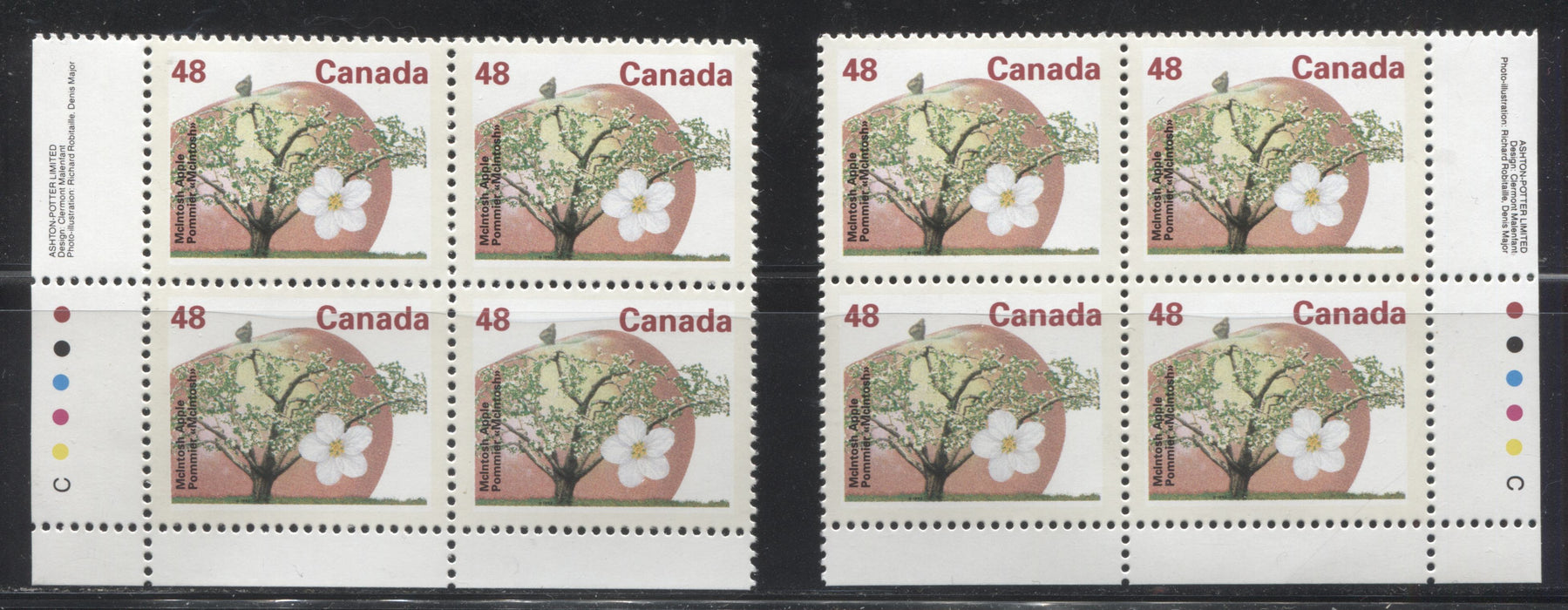 Canada #1363 48c McIntosh Apple, 1991-1998 Fruit & Flag Definitive Issue, VFNH LL and LR Inscription Blocks, Perf. 13.1 on Dead/NF Coated Papers Paper