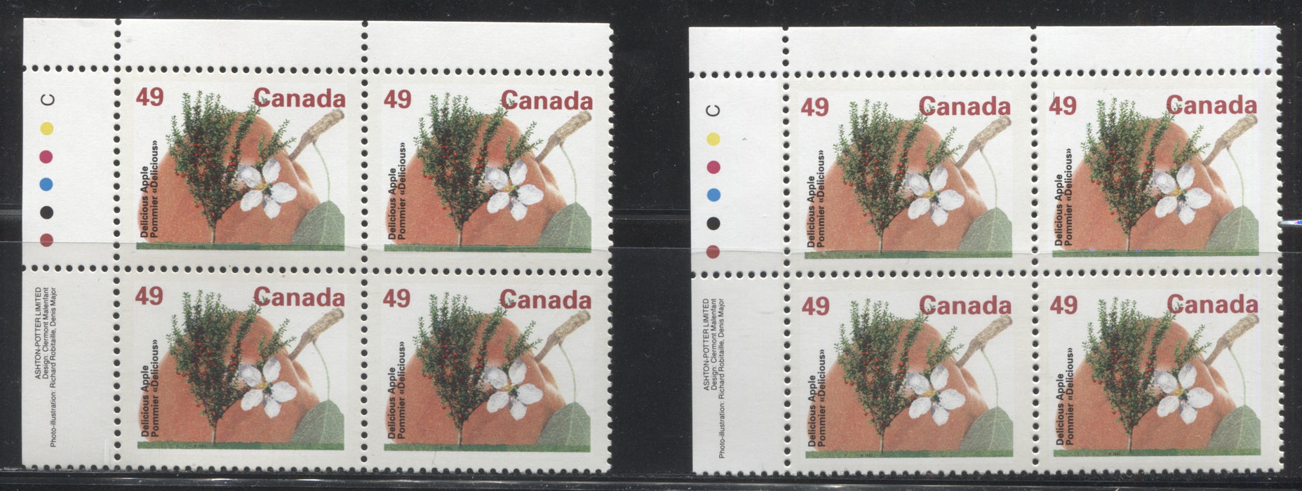 Canada #1364 49c Delicious Apple, 1991-1998 Fruit & Flag Definitive Issue, Two VFNH UL Inscription Blocks, Perf. 13.1 on Dead/NF Coated Papers Paper, Each A Slightly Different Shade