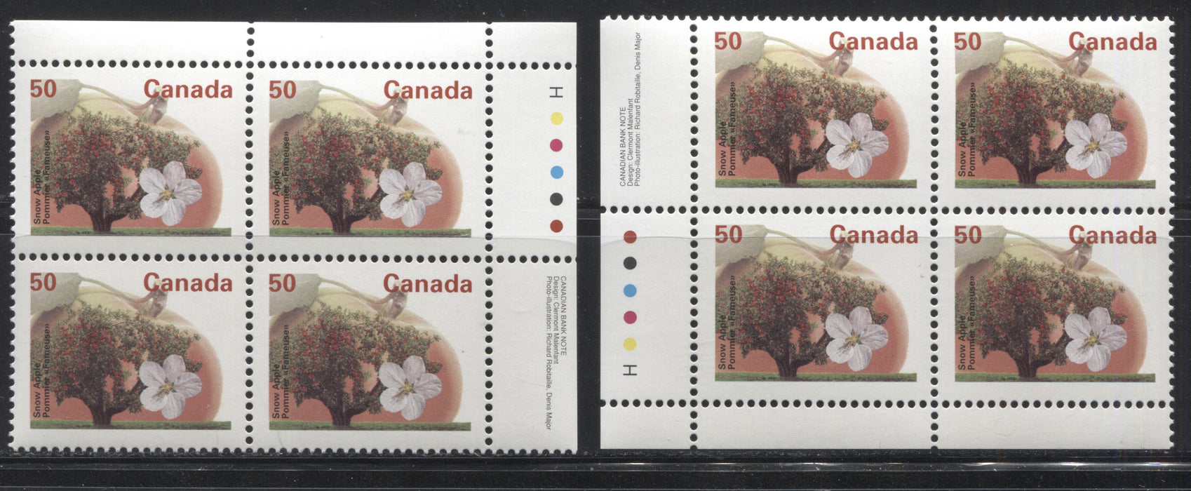 Canada #1365 50c Snow Apple, 1991-1998 Fruit & Flag Definitive Issue, VFNH UR & LL Inscription Block, Perf. 13.1 on DF/DF Harrison Paper