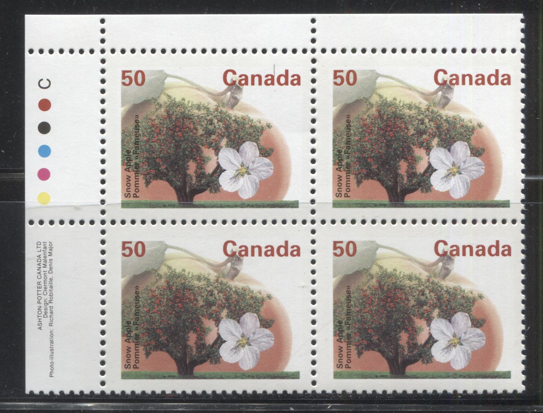 Canada #1365i 50c Snow Apple, 1991-1998 Fruit & Flag Definitive Issue, A VFNH UL Inscription Block, Perf. 13.1 on Dead/NF Coated Papers Paper