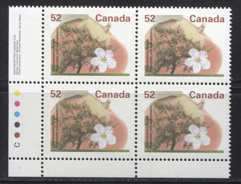 Canada #1366b 52c Gravenstein Apple, 1991-1998 Fruit & Flag Definitive Issue, A VFNH LL Inscription Block, Perf. 14.4 x 13.8 on Dead/NF Coated Papers Paper