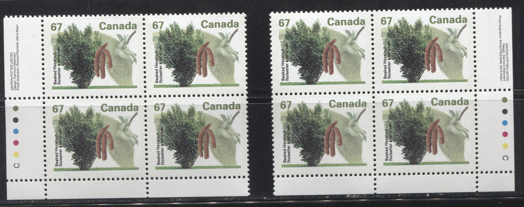 Canada #1368 67c Beaked Hazelnut, 1991-1998 Fruit & Flag Definitive Issue, VFNH LL and LR Inscription Blocks, Perf. 13.1 on Dead/NF Coated Papers Paper