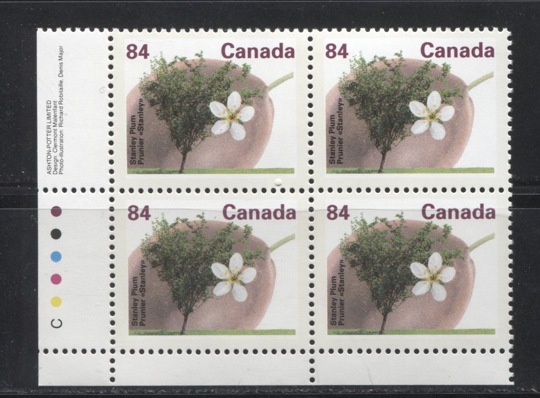 Canada #1371 84c Stanley Plum, 1991-1998 Fruit & Flag Definitive Issue, A VFNH LL Inscription Block, Perf. 13.1 on Dead/DF Coated Papers Paper