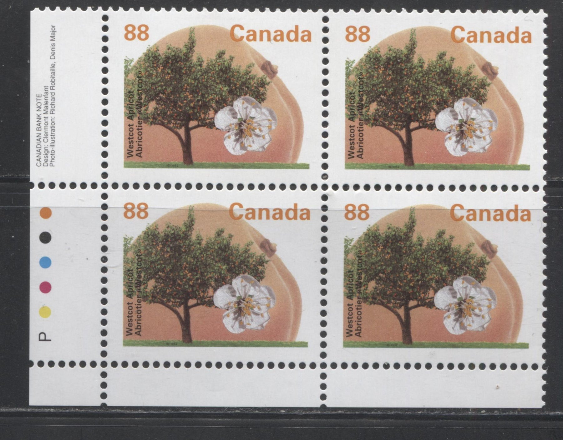 Canada #1373 88c Westcot Apricot, 1991-1998 Fruit & Flag Definitive Issue, A VFNH LL Inscription Block, Perf. 13.1 on LF/MF Peterborough Paper, GT-4 Tagging