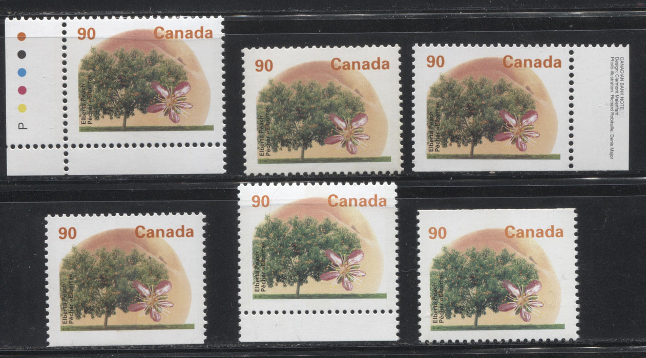 Canada #1374-1374iis 90c Elberta Peach, 1991-1998 Fruit and Flag Issue, Specialized Group of 6 VFNH Stamps, Being Most Printings, Plus Extra Shades and Paper Varieties