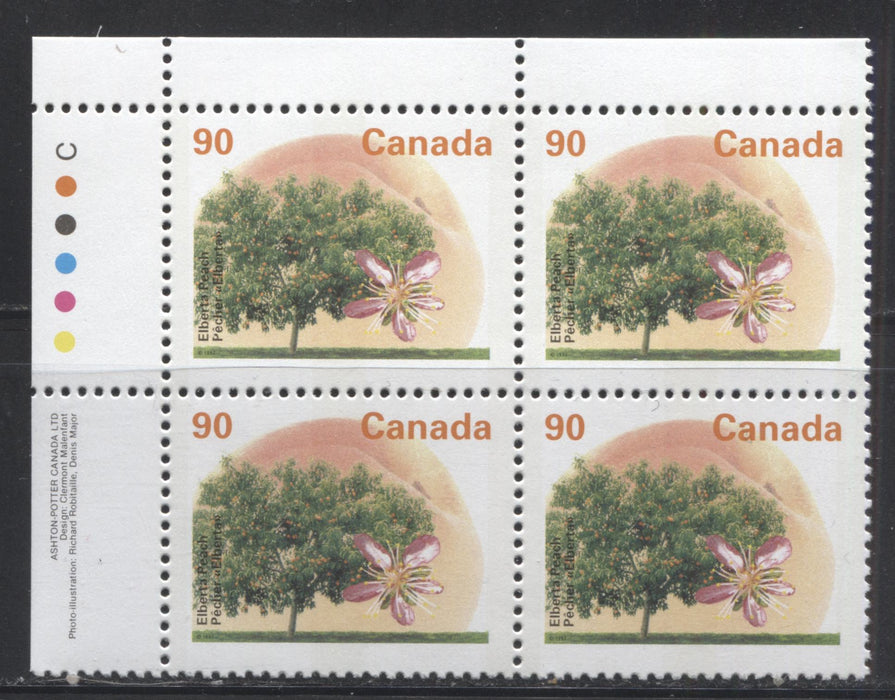 Canada #1374i 90c Elberta Peach, 1991-1998 Fruit & Flag Definitive Issue, A VFNH UL Inscription Block, Perf. 13.1 on Dead/NF Coated Papers Paper, GT-3 Tagging