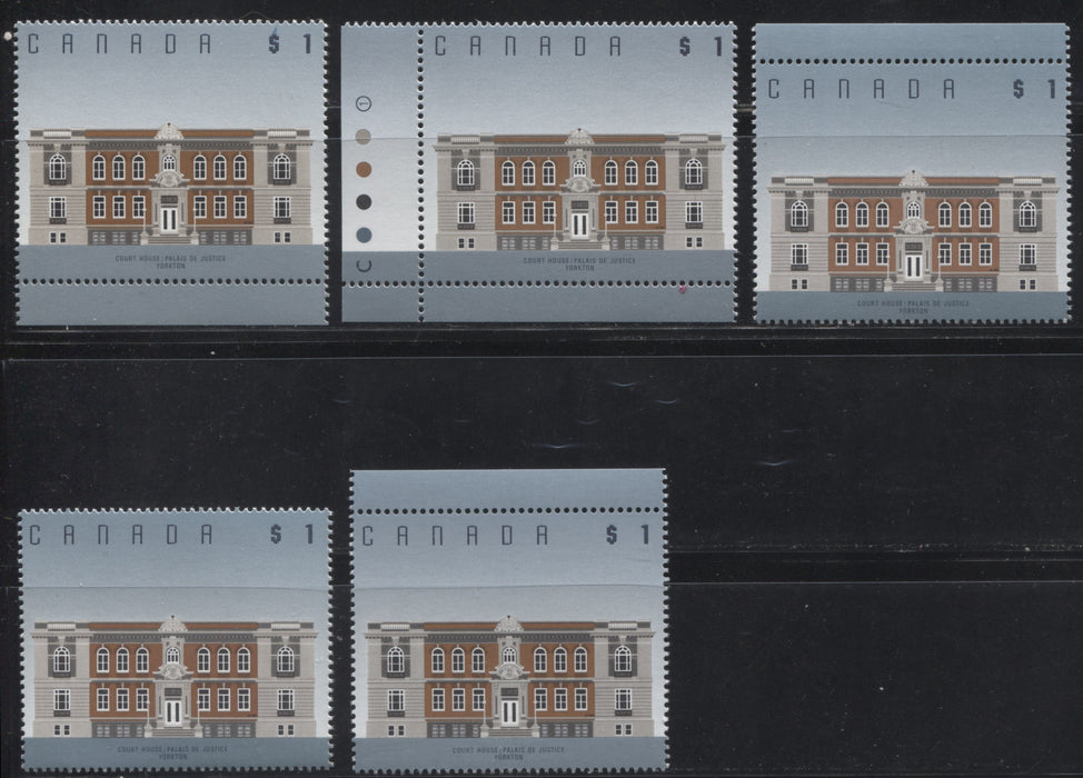 Canada #1375 $1 Yorkton Courthouse, 1991-1998 Fruit and Flag Issue, a Specialized Group of 5 VFNH Examples of the Leigh Mardon Printing