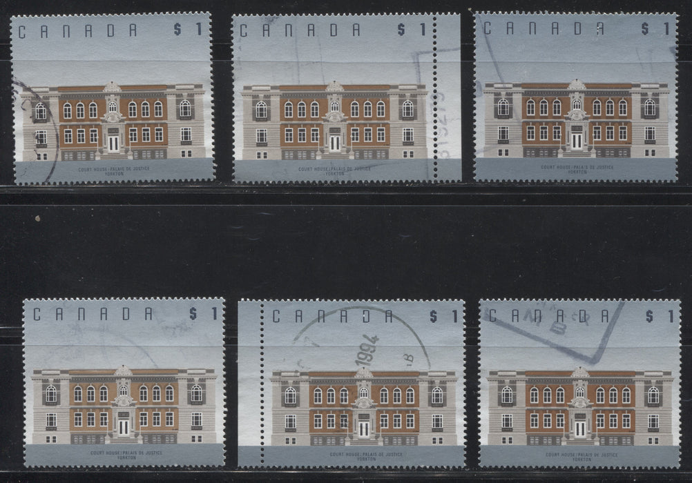 Canada #1375/1376c $1 Yorkton Courthouse & $2 Truro Normal School, 1991-1998 Fruit and Flag Issue, a Specialized Group of 15 VF Used Examples, Being Most All Printings and Many Extra Varieties