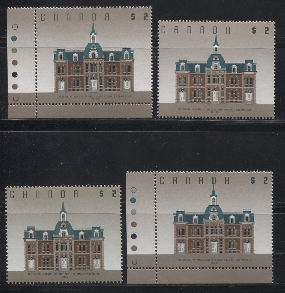 Canada #1376/1376c $2 Truro Normal School, 1991-1998 Fruit and Flag Issue, a Specialized Group of 4 VFNH Examples, Being Both Leigh Mardon and CBN Printings