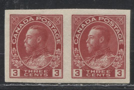 Canada #138 3c Deep Rose Red King George V, 1911-1928 Admiral Issue, A Very Fine Mint OG of the 1924 Imperforate Issue