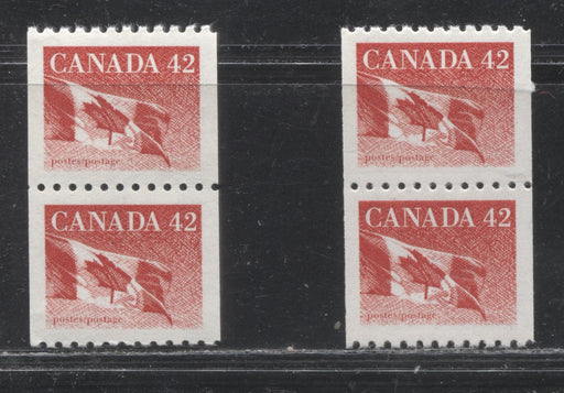 Canada #1394-1394iii 42c Red Flag of Canada 1991-1998 Fruit and Flag Definitive Issue, Two Coil Pairs, One on Dull Fluorescent Paper and One on Low Fluorescent Paper, Both VFNH