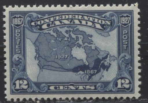 Canada #145 (SG#270) 12c Bright Indigo Map of Canada, 1927 Confederation Issue a Very Fine NH Example