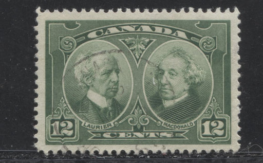Canada #147 (SG#272) 12c Deep Yellowish Green Laurier & Macdonald 1927 Historical Issue VF-82 Used
