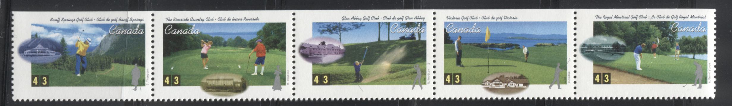 Canada #1553ai 43c Multicoloured 1995 Golf in Canada Issue, a VFNH Unfolded Booklet Strip of 5 From the Quarterly Pack