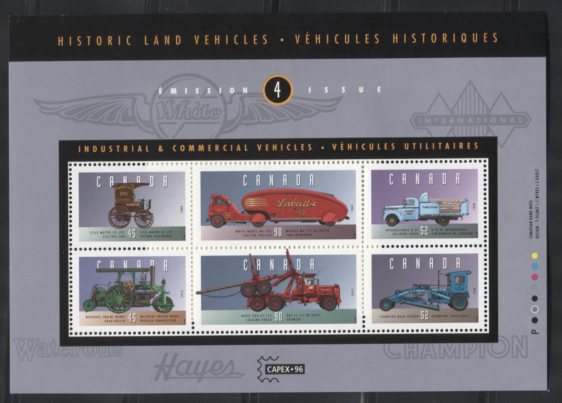 Canada #1604ii 45c-90c Multicoloured, 1996 Historic Land Vehicles Issue, VFNH Example of the Souvenir Sheet on the Scarcer High Fluorescent Paper