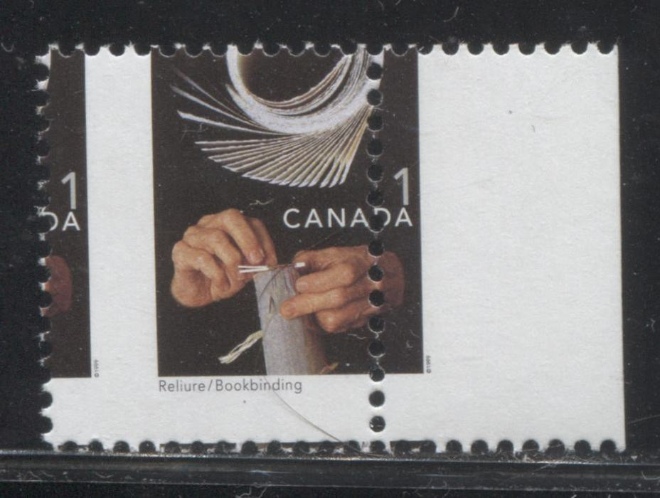Canada #1673 1c Multicoloured, Bookbinding, 1998-2005 Trades and Wildlife Issue, a VF NH Stamp Printed on NF/NF Coated Papers Paper, Showing A Significant Misperf