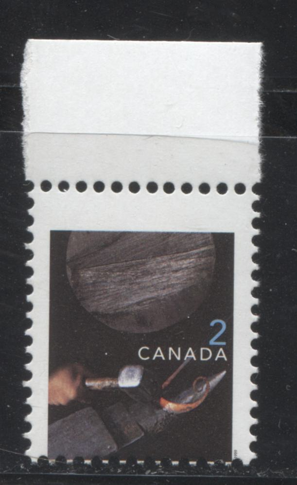 Canada #1674 2c Multicoloured, Ironwork, 1998-2005 Trades and Wildlife Issue, a VF NH Stamp Printed on NF/NF Coated Papers Paper, Showing A Significant Misperf
