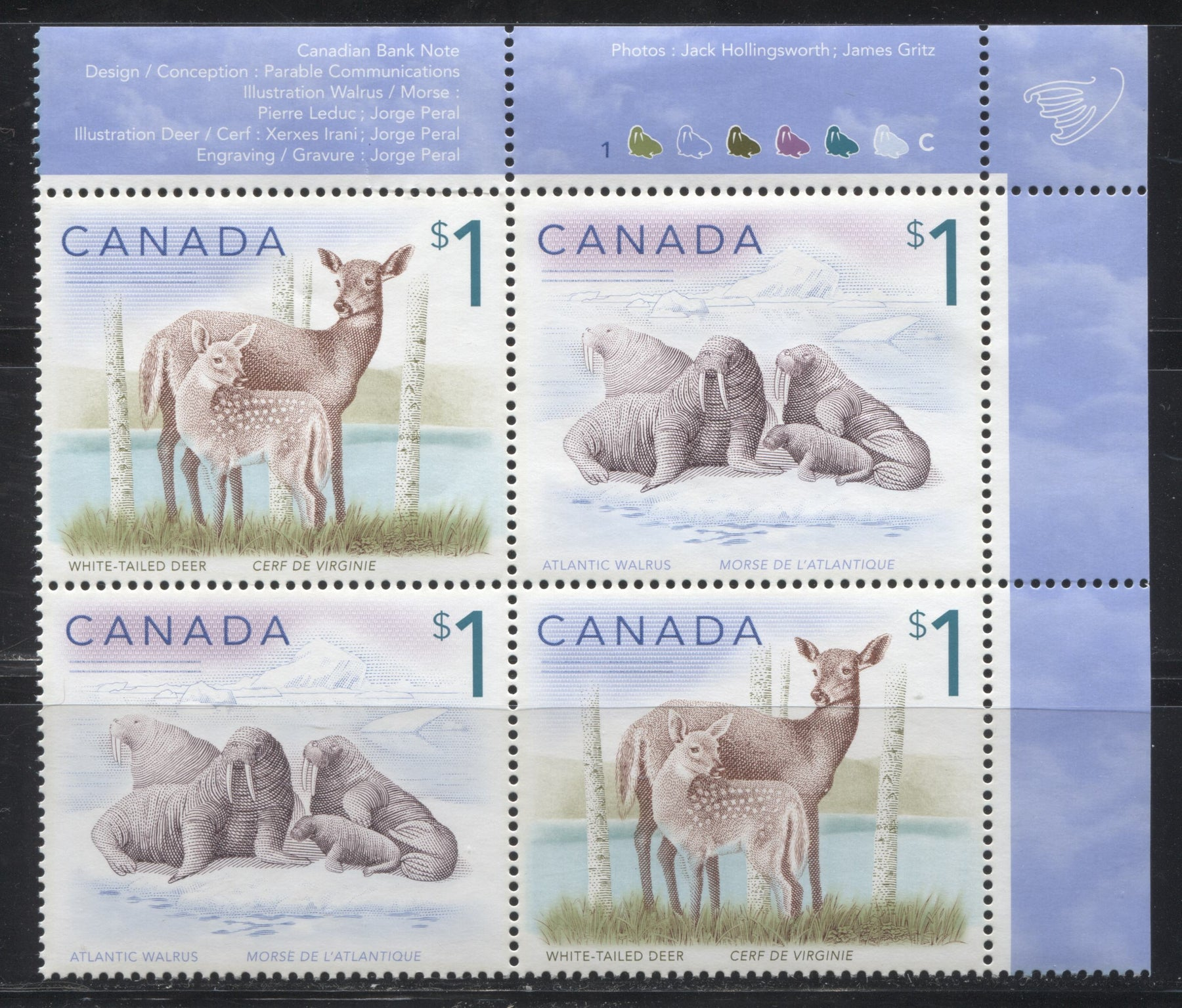 Canada #1689ai $1 Multicoloured, White Tailed Deer & Atlantic Walrus, 1998-2005 Trades and Wildlife Issue, a VF NH UR 2009 Reprint Plate Block Printed on Dead/NF Coated Papers Paper