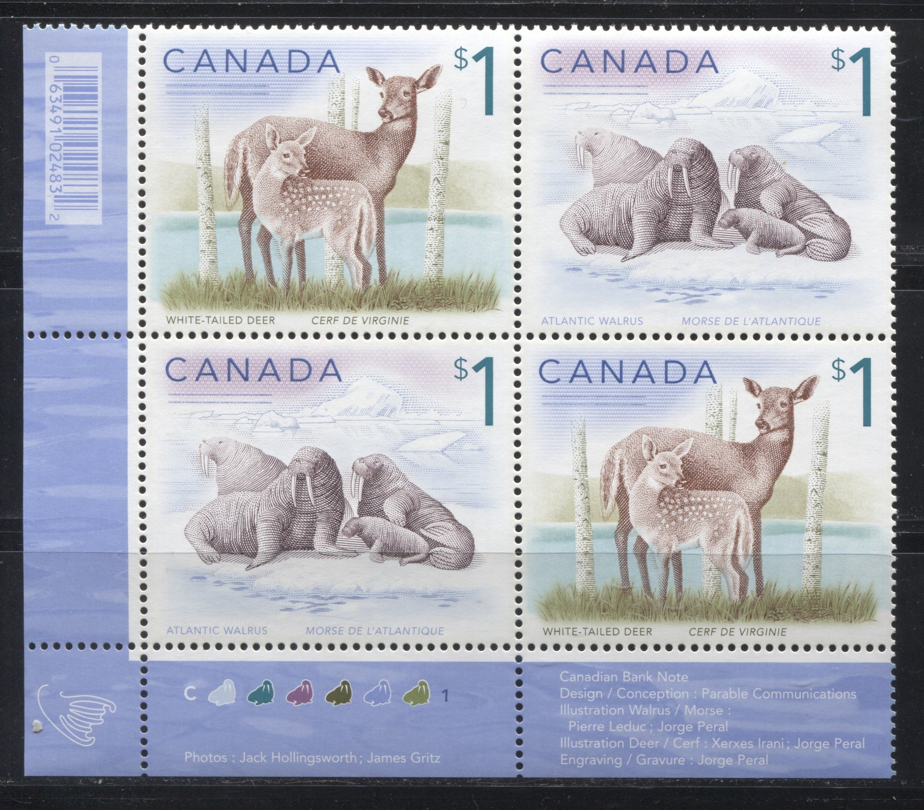 Canada #1689ai $1 Multicoloured, White Tailed Deer & Atlantic Walrus, 1998-2005 Trades and Wildlife Issue, a VF NH LL 2009 Reprint Plate Block Printed on Dead/NF Coated Papers Paper