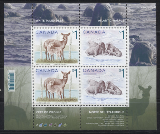 Canada #1689 $1 Multicoloured White Tailed Deer & Atlantic Walrus, 1998-2005 Trades and Wildlife Definitive Issue, a VFNH Souvenir Sheet of 4 on NF/DF Paper