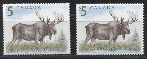 "Canada #1693 $5 Multicoloured, Moose, 1998-2005 Trades and Wildlife Issue, Two VFNH Examples, One With the ""Vertical Scratch"" in Left Perfs."