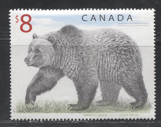 Canada #1694 $8 Multicoloured Grizzly Bear 1998-2005 Trades and Wildlife Definitive Issue, VFNH