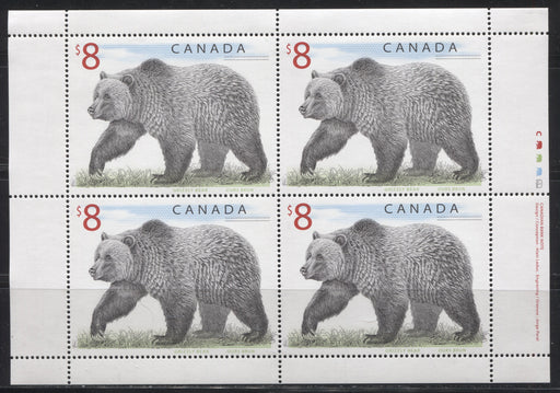 Canada #1694 $8 Multicoloured Grizzly Bear, 1998-2005 Trades and Wildlife Definitive Issue, a VFNH Sheetlet of 4 on Dead/DF Paper