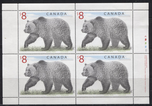 Canada #1694 $8 Multicoloured Grizzly Bear, 1998-2005 Trades and Wildlife Definitive Issue, a VFNH Sheetlet of 4 on Dead/NF Paper