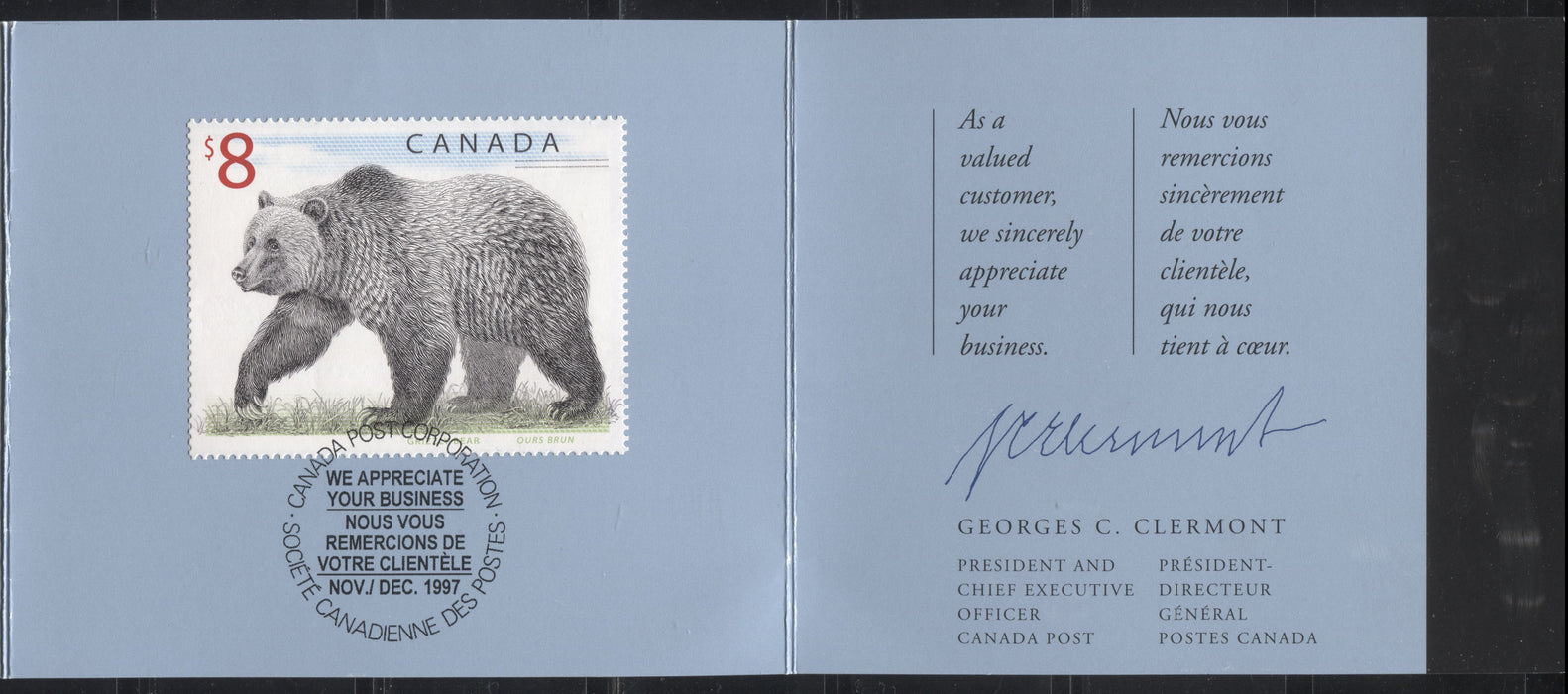 Canada #1694 $8 Multicoloured Grizzly Bear, 1998-2005 Trades and Wildlife Definitive Issue, a Very Fine Example of the Customer Appreciation Folder on HF Stock