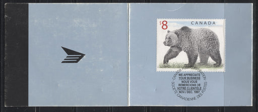 Canada #1694 $8 Multicoloured Grizzly Bear, 1998-2005 Trades and Wildlife Definitive Issue, a Fine Example of the Customer Appreciation Folder on LF-fl  Stock