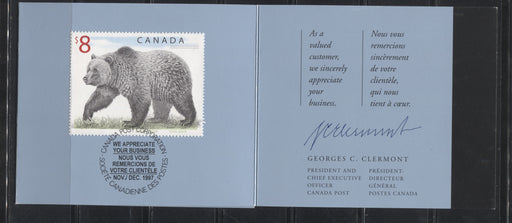 Canada #1694 $8 Multicoloured Grizzly Bear, 1998-2005 Trades and Wildlife Definitive Issue, a Very Fine Example of the Customer Appreciation Folder on MF  Stock