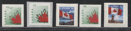 Canada #1696-1700 45c-47c Self Adhesive Stamps From the 1998-1999 Definitive Issue, All VFNH