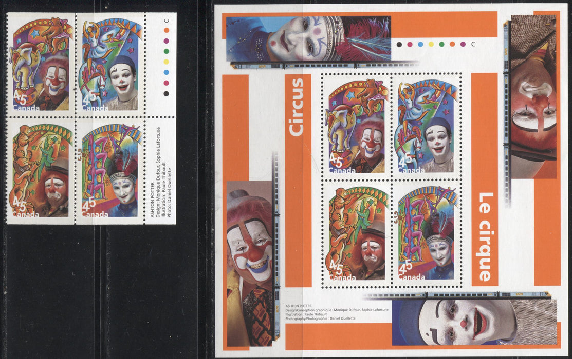 Canada #1760a-b 45c-$1.80 Multicoloured, 1998 Circus Issue, A VFNH Example of A Booklet Block and A Souvenir Sheet.
