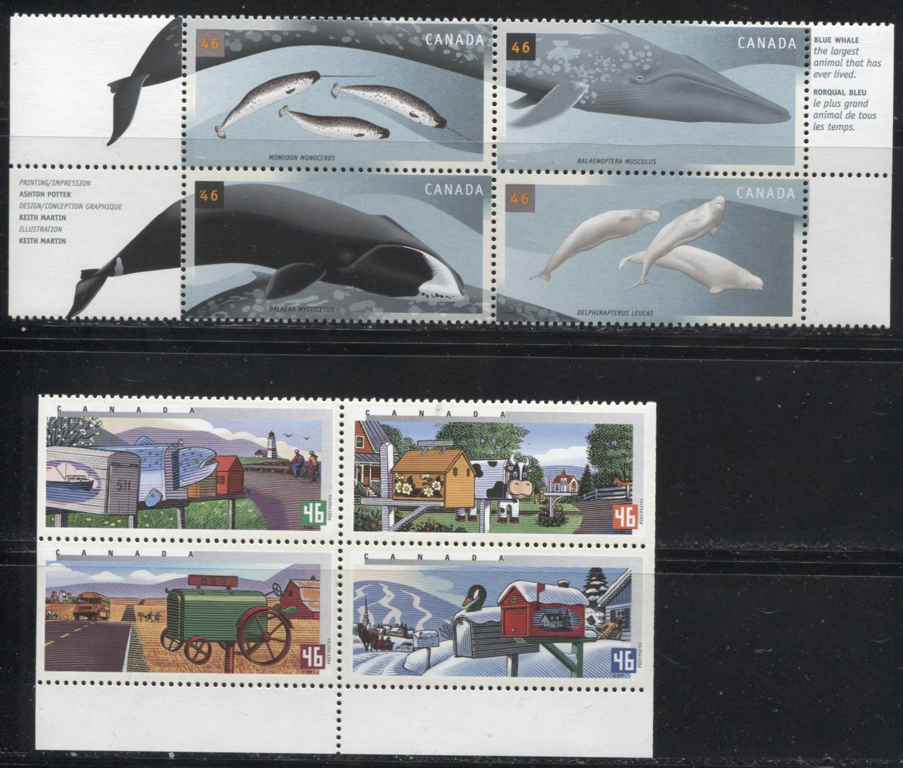 Canada #1852a,1871a 46c Multicolored, 2000 Rural Mailboxes and Whales Issues, 2 VFNH Examples of Blocks of 4 Stamps