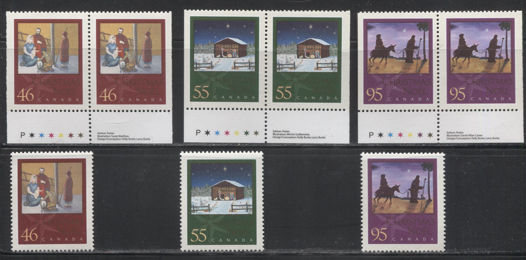 Canada #1873-1875as 46c-95c Multicoloured, 2000 Christmas Issue, a VFNH Complete Set of Sheet Stamps and Booklet Pairs.