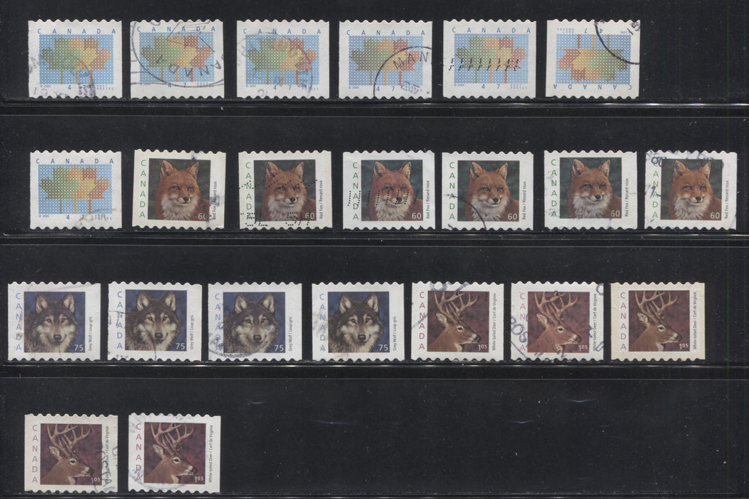 Canada #1878-1881iii 47c-$1.05 Multicolored 1998-2003 Trades and Wildlife Issue, A Specialized Lot of 22 VF Used Stamps
