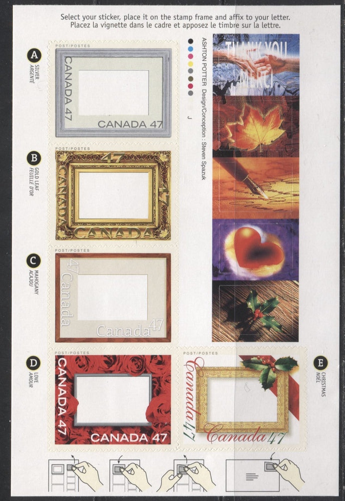 Canada #1882iivar 2000 Picture Postage Greetings Issue, $2.35 Booklet Pane on Low Fluorescent JAC Paper, 4 mm GT-4 Tagging, From Quarterly Pack