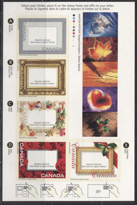 Canada #1918var 2001 Picture Postage Greetings Issue, $2.35 Booklet Pane on Medium Fluorescent JAC Paper, 4 mm GT-4 Tagging, From Quarterly Pack