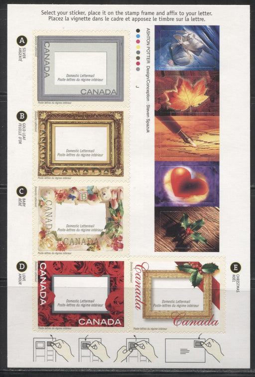 Canada #1918var 2001 Picture Postage Greetings Issue, $2.35 Booklet Pane on Dead JAC Paper, 4 mm GT-4 Tagging, From Quarterly Pack