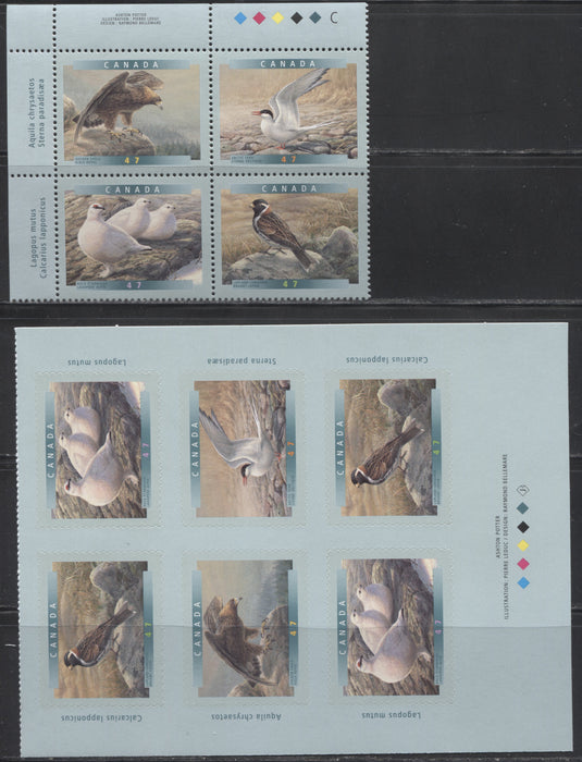 Canada #1889a,1893b 47c Multicolored 2006 Birds of Canada 6a and 6b Issues, A VFNH Block of 4 And Booklet Pane of 6.